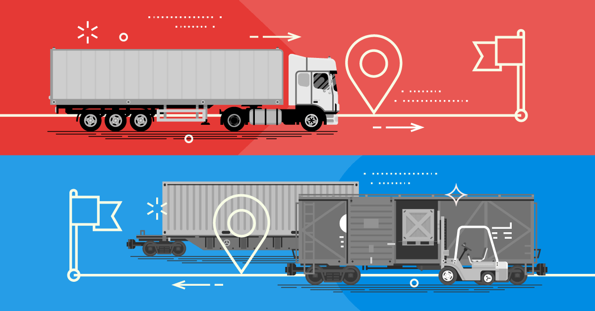 Transporting across large distances by train and then transhipped onto trucks