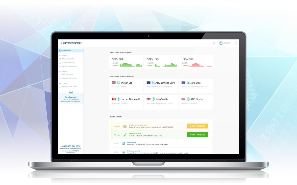 Login to your CurrencyTransfer.com account to access your new dashboard