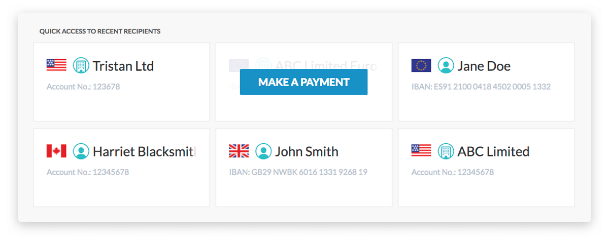 Make repeat payments even faster by selecting your frequent recipient at the start