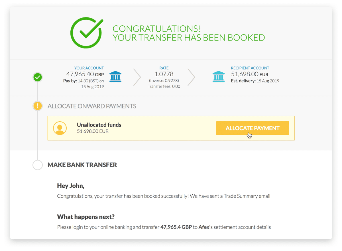 Book a single international transfer for all your intended recipients